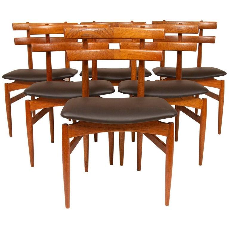 Rare Set of Six 1950s Poul Hundevad Teak Model 30 Dining Chairs