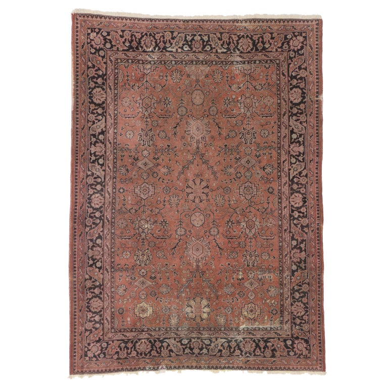 Distressed Vintage Turkish Rug with Romantic Swedish Farmhouse Style For Sale