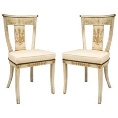 Pairs of Italian Neoclassic Floral Decorated Side Chairs
