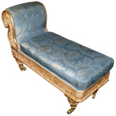 19th Century Carved Gilt Scroll End Chaise Longue Seat