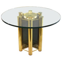 Round Dining Table in Brass with Lighting, 1960s
