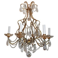 Wonderful French Beaded Rock Crystal Maison Baguès Bird Cage Baccarat Chandelier