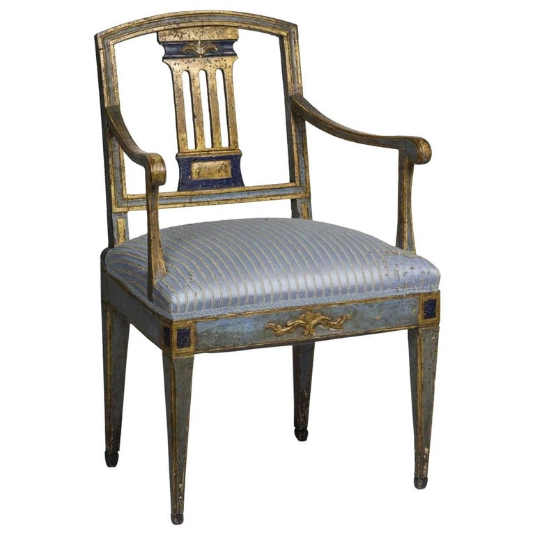 Continental Neoclassical Painted and Gilt Armchair