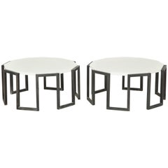 Pair of Wrought Iron and Travertine Marble Tables