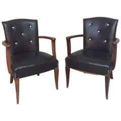 Pair of Black Leatherette Lounge Chairs, 1940s