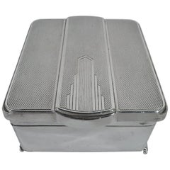 Small and Snazzy English Art Deco Modern Sterling Silver Jewelry Box