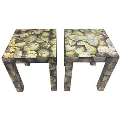 Glamorous and Rare Pair of Pristine Abalone Shell Parsons Style End Tables