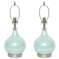 Swedish Sea Foam Glazed Ceramic Lamps