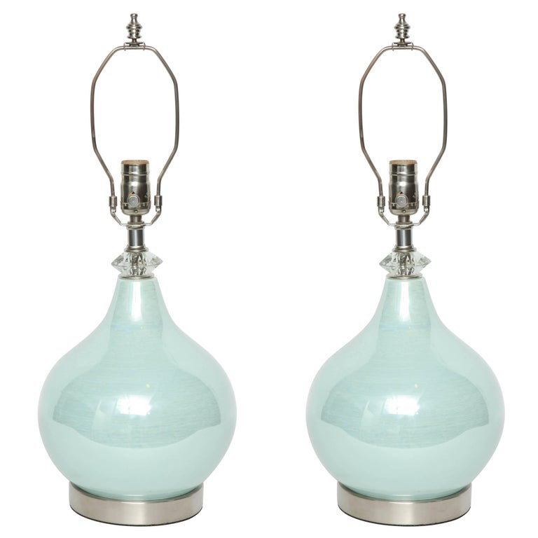 Swedish Sea Foam Glazed Ceramic Lamps