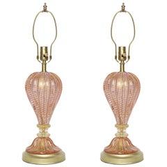 Barovier Ice Pink Murano Glass Lamps