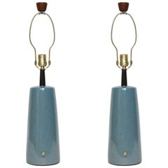 Gordon Martz Speckled Blue Ceramic Lamps
