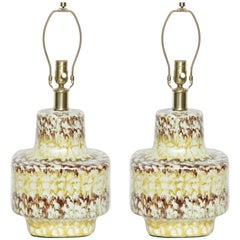 West German Mottled Glazed Lamps