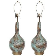 Italian Brown/Blue Glazed Lamps