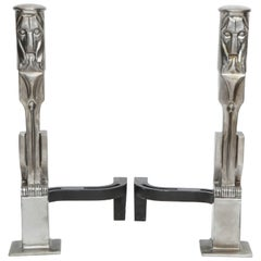 Cubist Lion Brushed Nickel Andirons