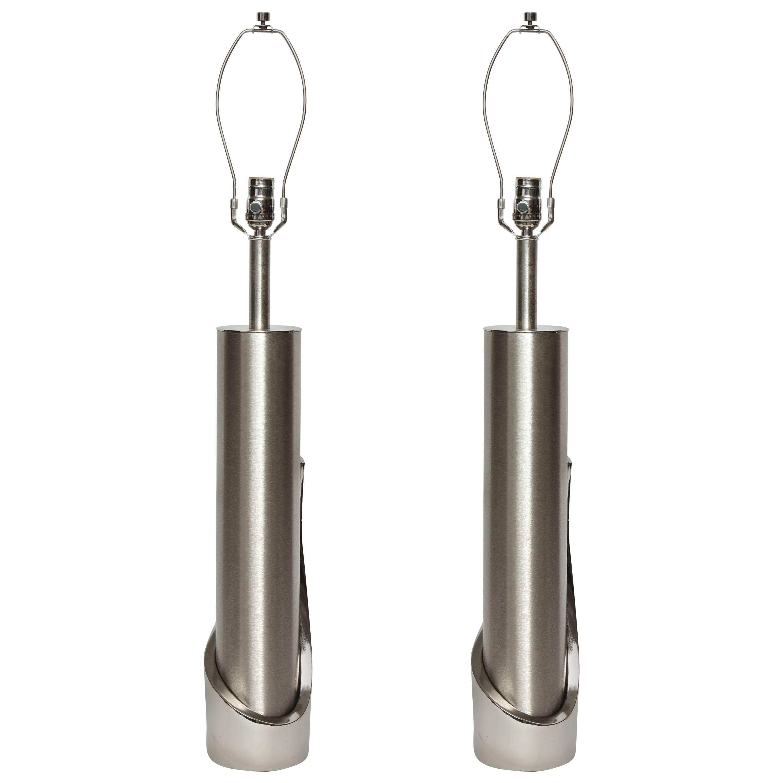 Laurel Brushed Steel Cylinder Lamps
