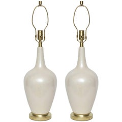 Art Deco Pearlescent Glazed Porcelain Lamps