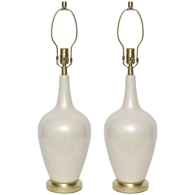 Art Deco Pearlescent Glazed Porcelain Lamps