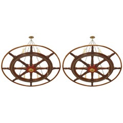Similar American Victorian Wooden Ship Wheels Chandeliers
