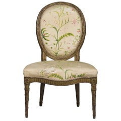 Continental Louis XVI Carved Giltwood Side Chair, circa 1775
