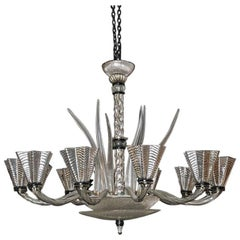 Mirrored Murano Chandelier 12 Arms, Clear Glass Horns, 1950s