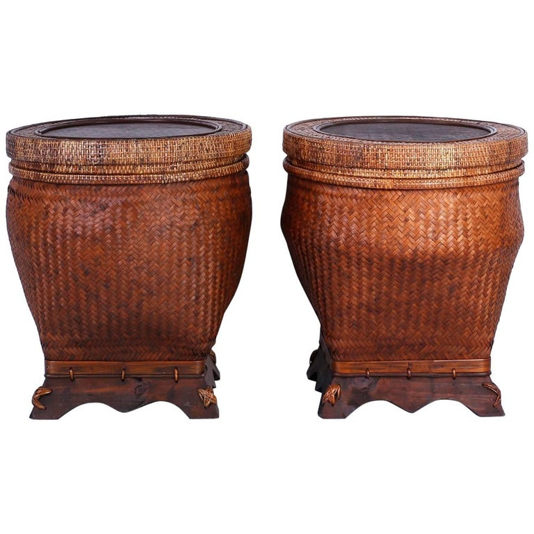 Pair of Lidded Rattan Baskets or Tables