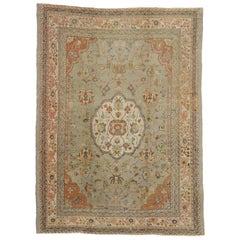 Antique Turkish Oushak Rug with Romantic French Provincial Style