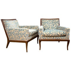 Pair of Contemporary Upholstered Walnut Lounge Chairs