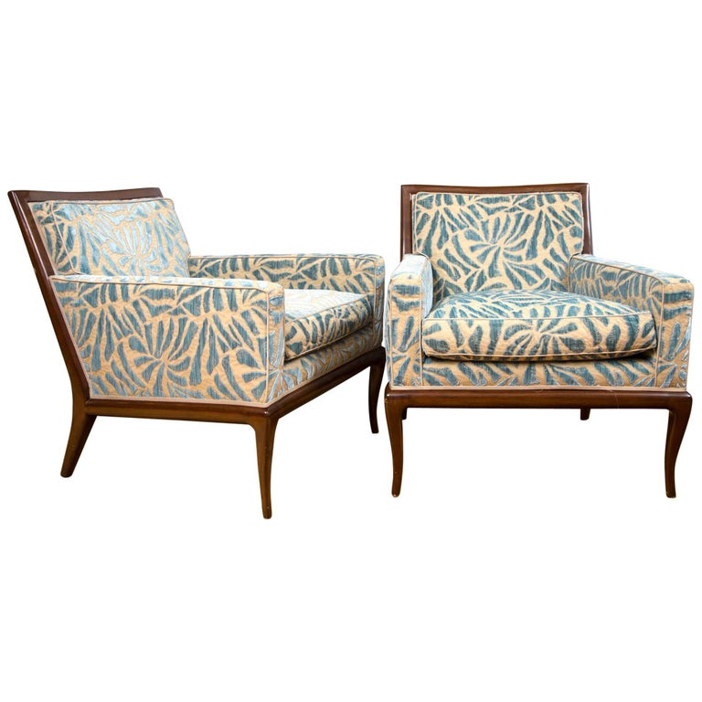 Pair of Upholstered Walnut Lounge Chairs For Sale