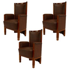 American Mission Style Oak Barrel Back Armchairs