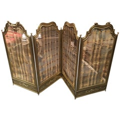 French Polished Brass Four Fold Fire Screen, 19th Century