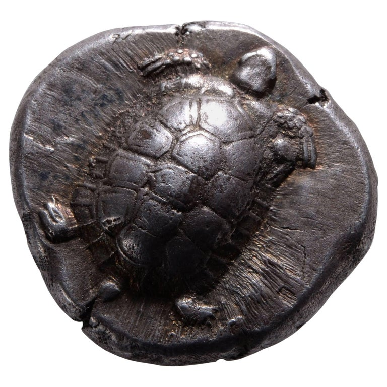 Ancient Greek Silver Tortoise Stater Coin from Aegina - 456 BC