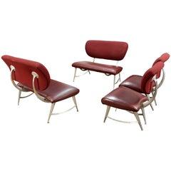 DisneyQuest Armillary Jordan Mozer Set of Aluminum Settees & Side Chairs, 1990s