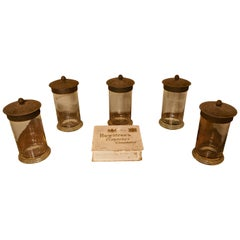 Set of Five 19th Century Rountree's Sweet Gums Jars with Chocolate Box