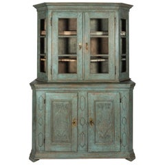 Blue Painted Baroque Display Cabinet