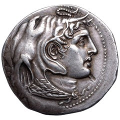 Ancient Greek Silver Coin with the Portrait of Alexander the Great - 310 Bc