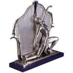 20th Century Art Deco Silver Metal and Glass Lamp with Dancer