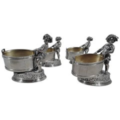 Set of Four Stylish New York Sterling Silver Open Salts with Bacchic Babes