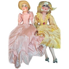 Pair of French Salon Dolls with Silk Dresses, 1930s