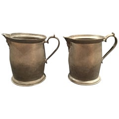 English Pair of Pewter Mugs or Cups with Handles, 19th Century