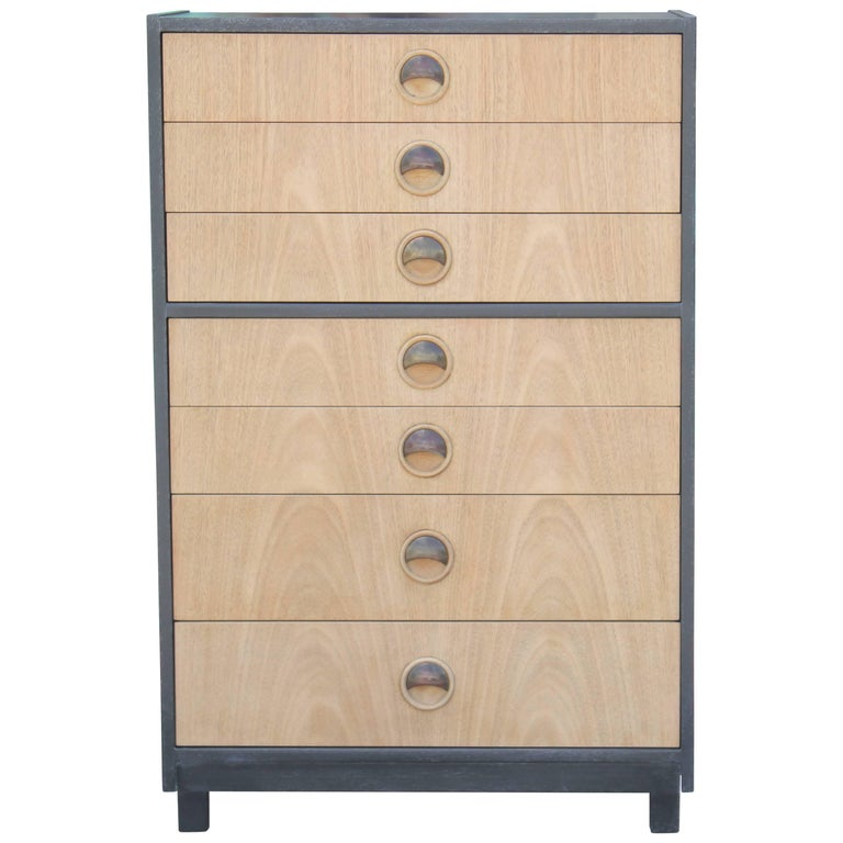 Modern Tall Two-Tone Cerused Finish Chest of Drawers and Brass Handles For Sale