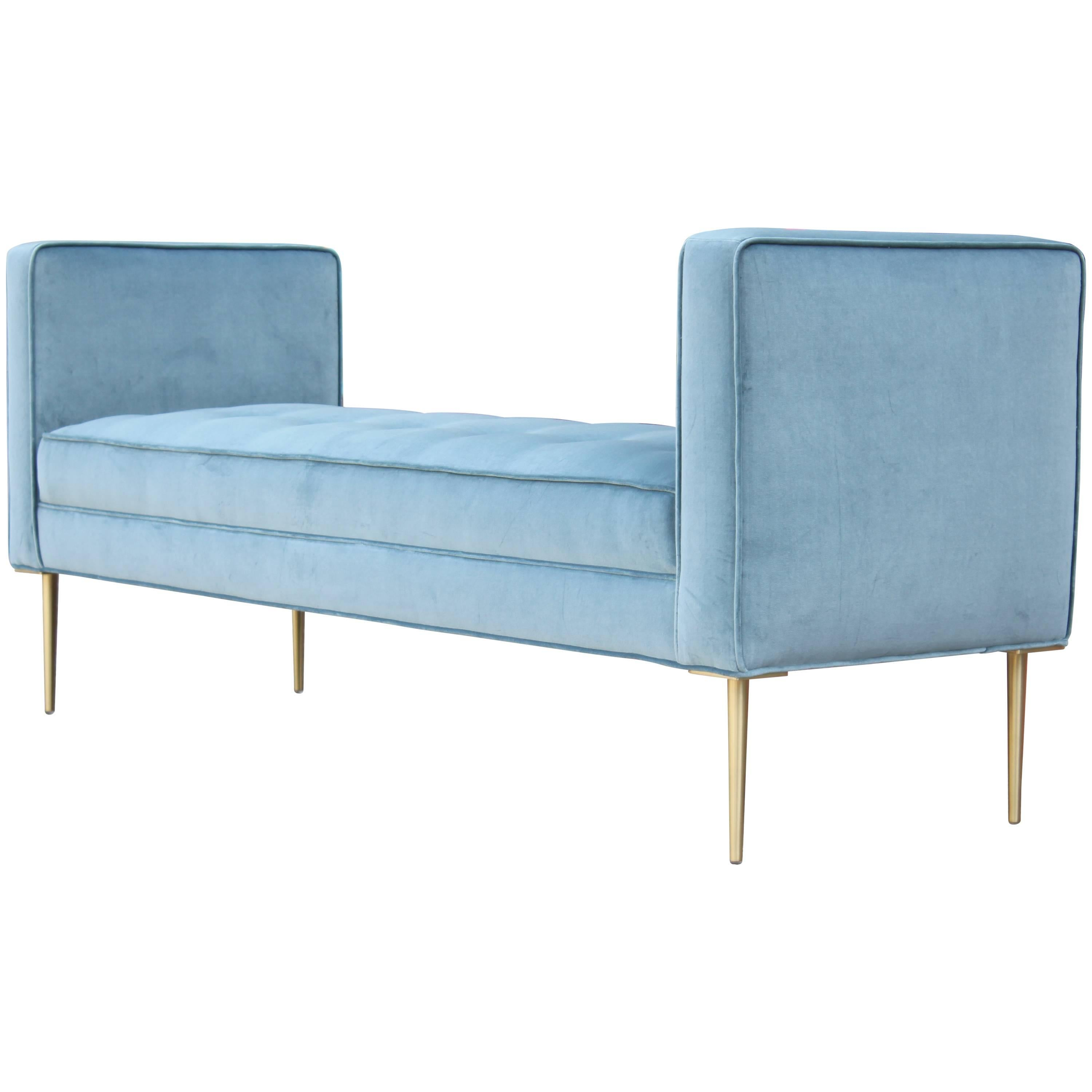 Modern Tufted Armed Bench In Light Blue Velvet With Brass Legs For Sale