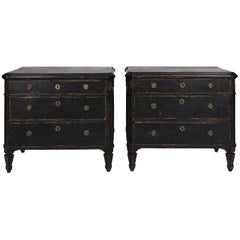 Black Painted Gustavian Dresser