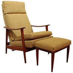Mid-Century Modern Westnofa Teak Adjustable Lounge Chair and Ottoman