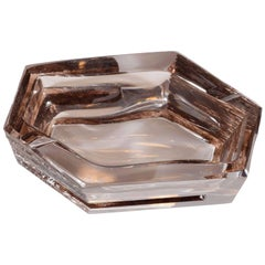 Mid-Century Modern Sculptural Hexagonal Smoked Glass Ashtray or Bowl by Daum