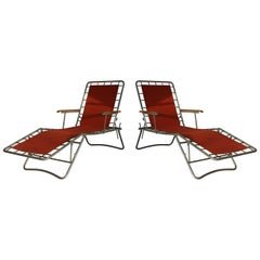 Two Italian metal and brick red canvas Loungers, circa 1950