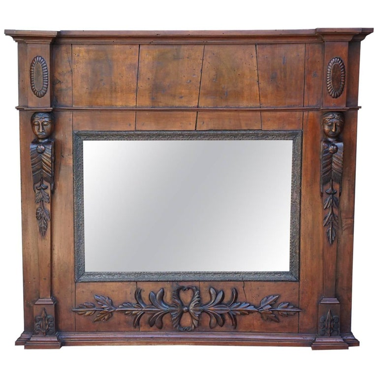 Late 18th Century Italian Country Neoclassical Walnut Trumeau Mirror