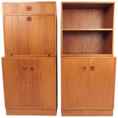 Pair Of Scandinavian Modern Bookshelf Cabinets In Teak