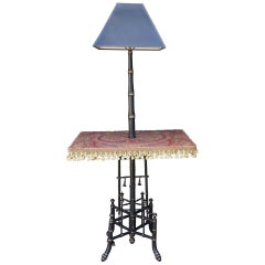 19th Century English Aesthetics Movement Faux Bamboo Lamp Table