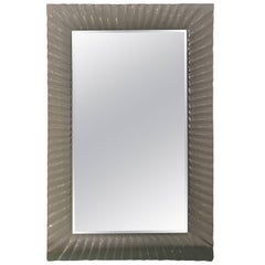 Midcentury Italian Mirror with a Fluted Clear Murano Glass Frame