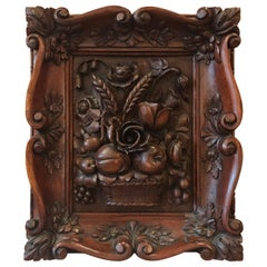 Austrian Hand-Carved Walnut Framed Floral Plaque